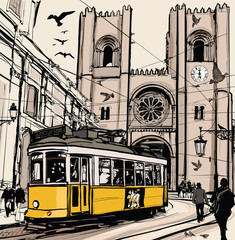 Typical tramway in Lisbon near Se cathedral