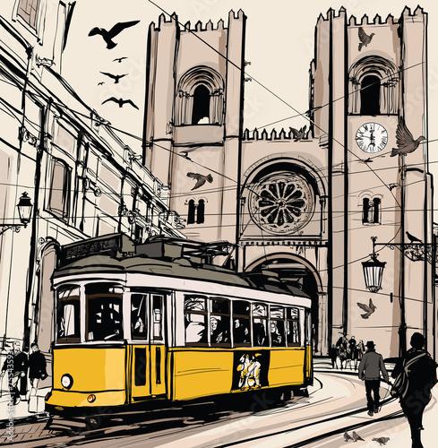 typowy-zolty-tramwaj-w-lizbonie-przy-katedrze-grafika-wektorowa