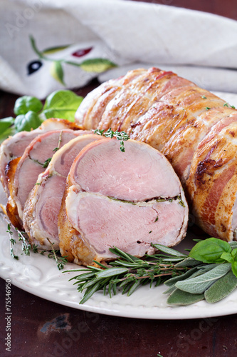 Fotografie, Obraz  Roasted pork tenderloin with herbs