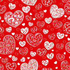 Seamless pattern of hearts, white on red