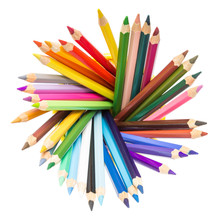 Various Colorful Pencils In Holder Isolated On White Background