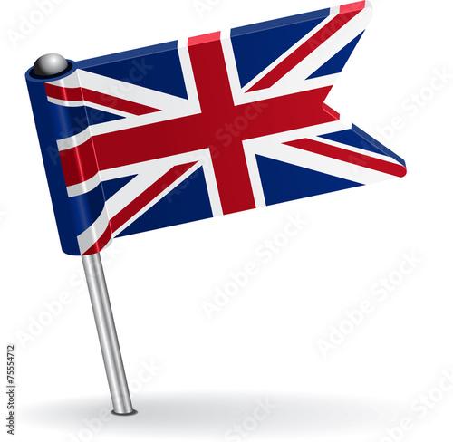 Fotografía  British pin icon flag. Vector illustration