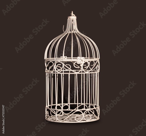 Fotografie, Obraz  Shabby chic bird cage isolated on black background