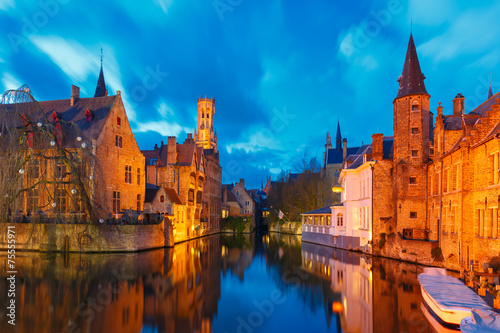 Deurstickers Brugge Cityscape with a tower Belfort from Rozenhoedkaai in Bruges at s