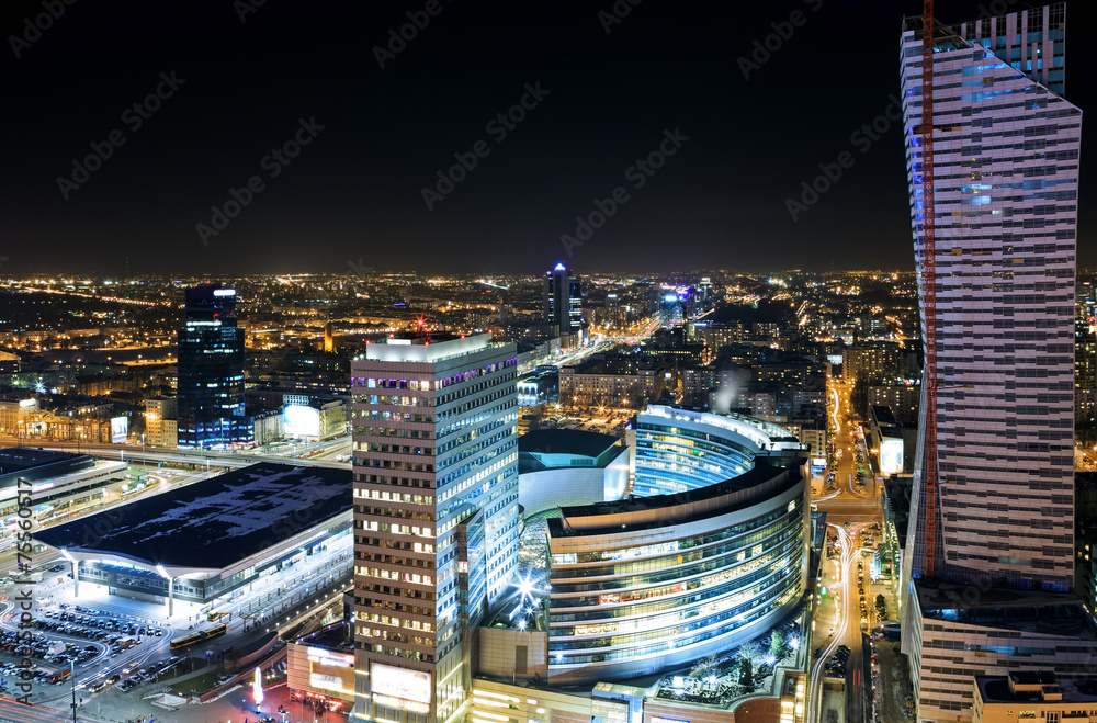 Fototapety, obrazy: View of the center of Warsaw at night