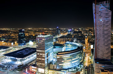 Fototapeta Warszawa View of the center of Warsaw at night