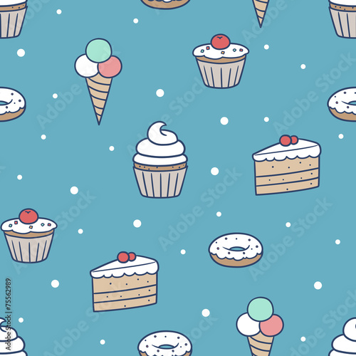 Cotton fabric seamless confection pattern