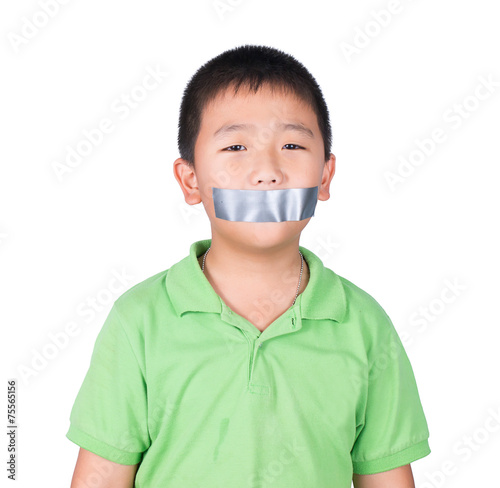 Photo ฺฺBoy with wrapping adhesive tape around mouth, rights of child