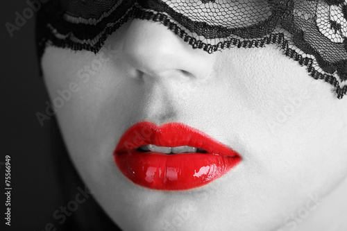 Fotografie, Obraz  Beautiful make up of glamour red gloss lips