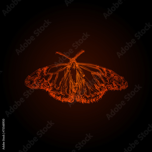 Foto op Aluminium Vlinders in Grunge Butterfly abstract design, easy editable
