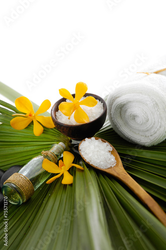 Spoed Foto op Canvas Spa Spa set with spa oil ,towel salt in bowl ,yellow orchid