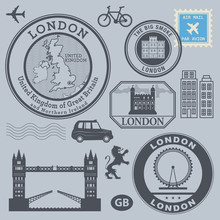 Travel Stamps Set, London, Vec...