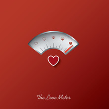Valentine Card With Love Gauge Concept Design On Red Background