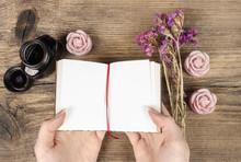 Handwritten Diary: Woman Holding Hardcover Notebook