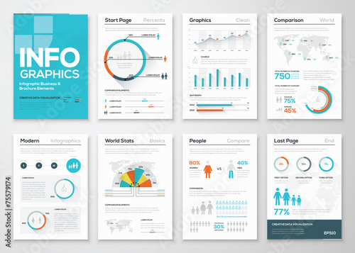 Photo  Big set of infographics elements in modern flat business style