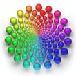 canvas print picture - shperes circular spectrum pattern