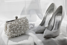 Glitter Silver Shoes And Clutc...