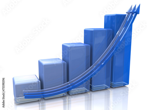 Fotografía  Blue bar chart and arrow depicting growth of profits