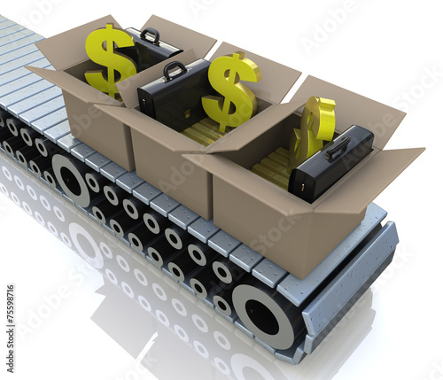 Poster Militaire Conveyor cardboard boxes with gold bars and dollar signs