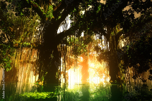 Mysterious Deep Jungle in the Sunset Sunrise 3D artwork Billede på lærred
