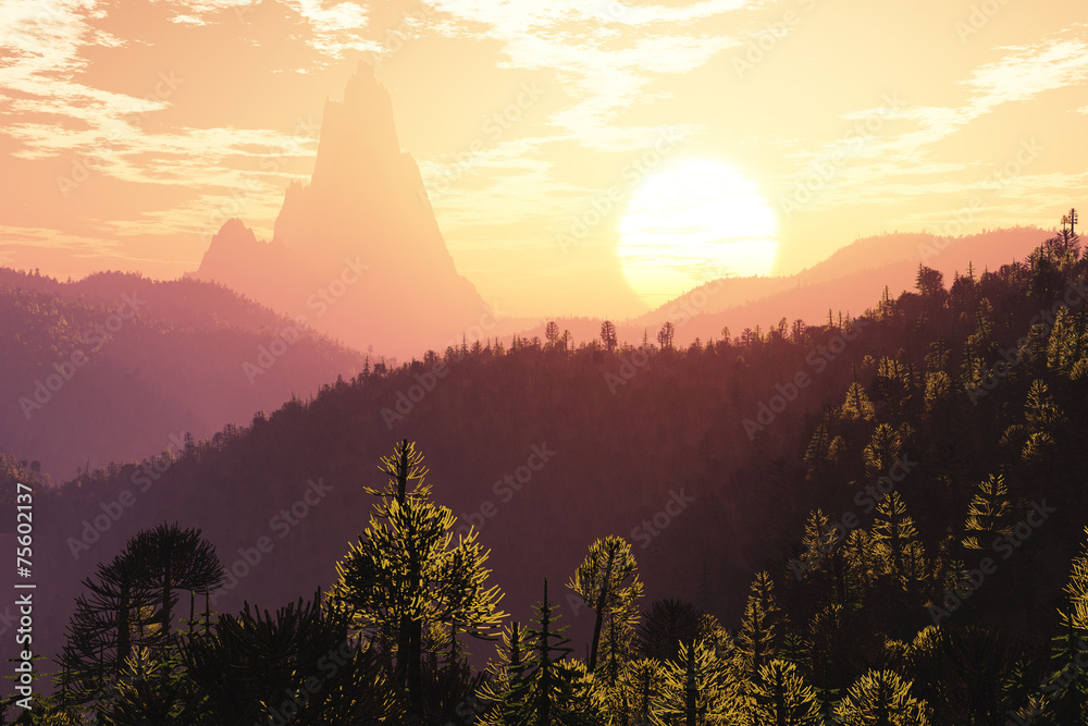 Prehistoric Jurassic Jungle in the Sunset Sunrise 3D artwork Billede på lærred