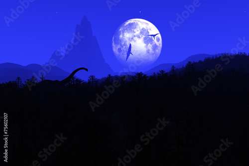 Fotografering  Prehistoric Jurassic Jungle at Night under Fullmoon 3D artwork