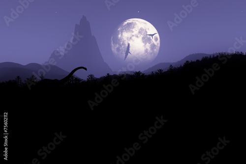 Fotografering  Prehistoric Jurassic Jungle at Night under Fullmoon 3D artwork