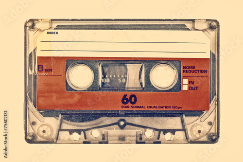 Retro styled image of an old compact cassette Fototapeta