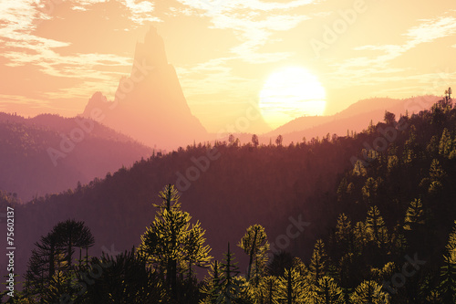 Fotografering  Prehistoric Jurassic Jungle in the Sunset Sunrise 3D artwork