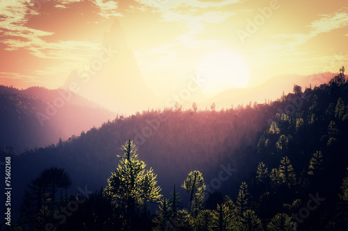 Foto  Prehistoric Jurassic Jungle in the Sunset Sunrise 3D artwork
