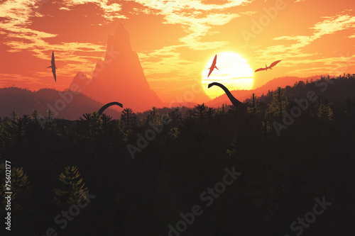Prehistoric Jurassic Jungle in the Sunset Sunrise 3D artwork Billede på lærred
