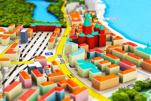 Poster Jaune Miniature city