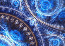 Abstract Blue Fractal Backround