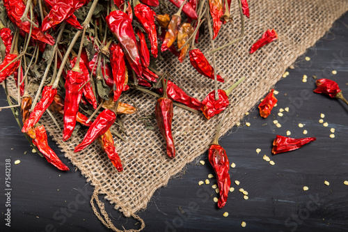 Canvas Print Spicy red dried chilies