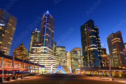 Vancouver city financial district at night, Vancouver, BC