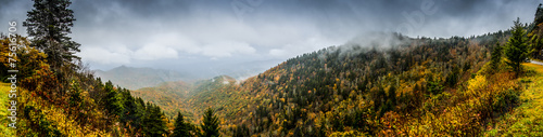 Panorama of Mountains in Fall with Fog Poster