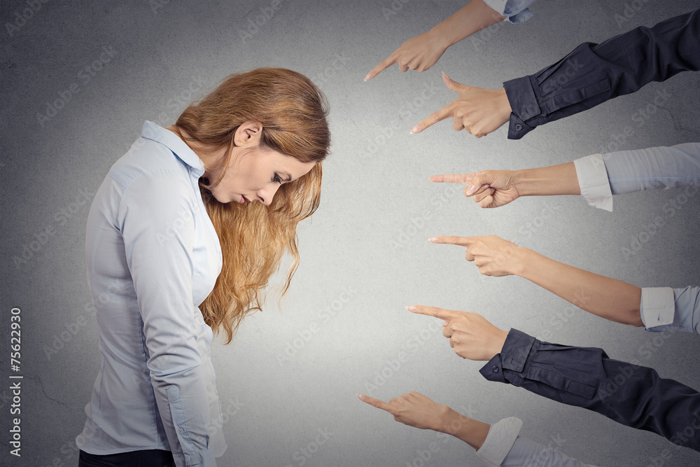 Fototapeta Concept of accusation of guilty sad depressed businesswoman