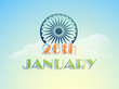26 January, Indian Republic Day celebration with Ashoka Wheel.