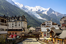 View From Chamonix To Mont Blanc Glacier