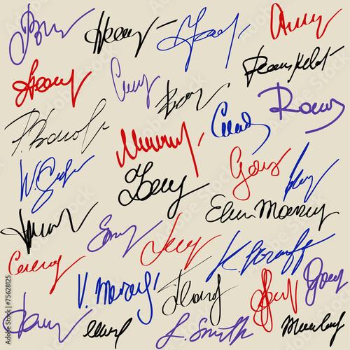 Hand signature set Canvas Print