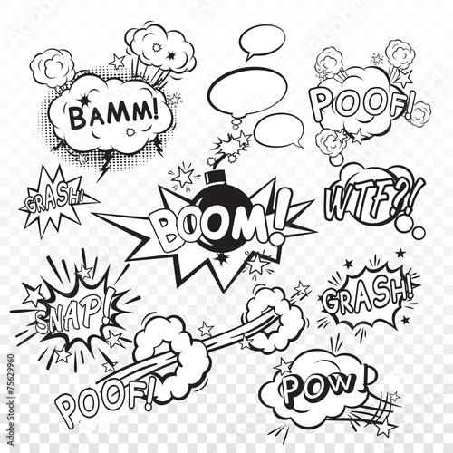 Fotografie, Obraz  Comic boom set