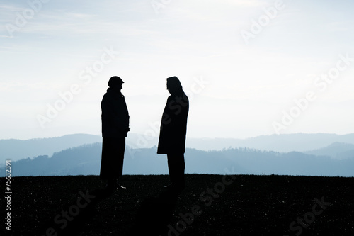 Two people talking about the future. People making agreement. Canvas Print