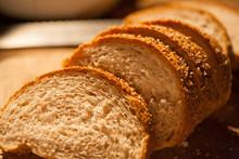 Sliced Bread On Cutting Board Closeup