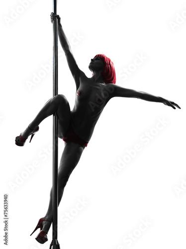 woman pole dancer silhouette Poster