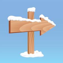 Winter Wooden Arrow Board