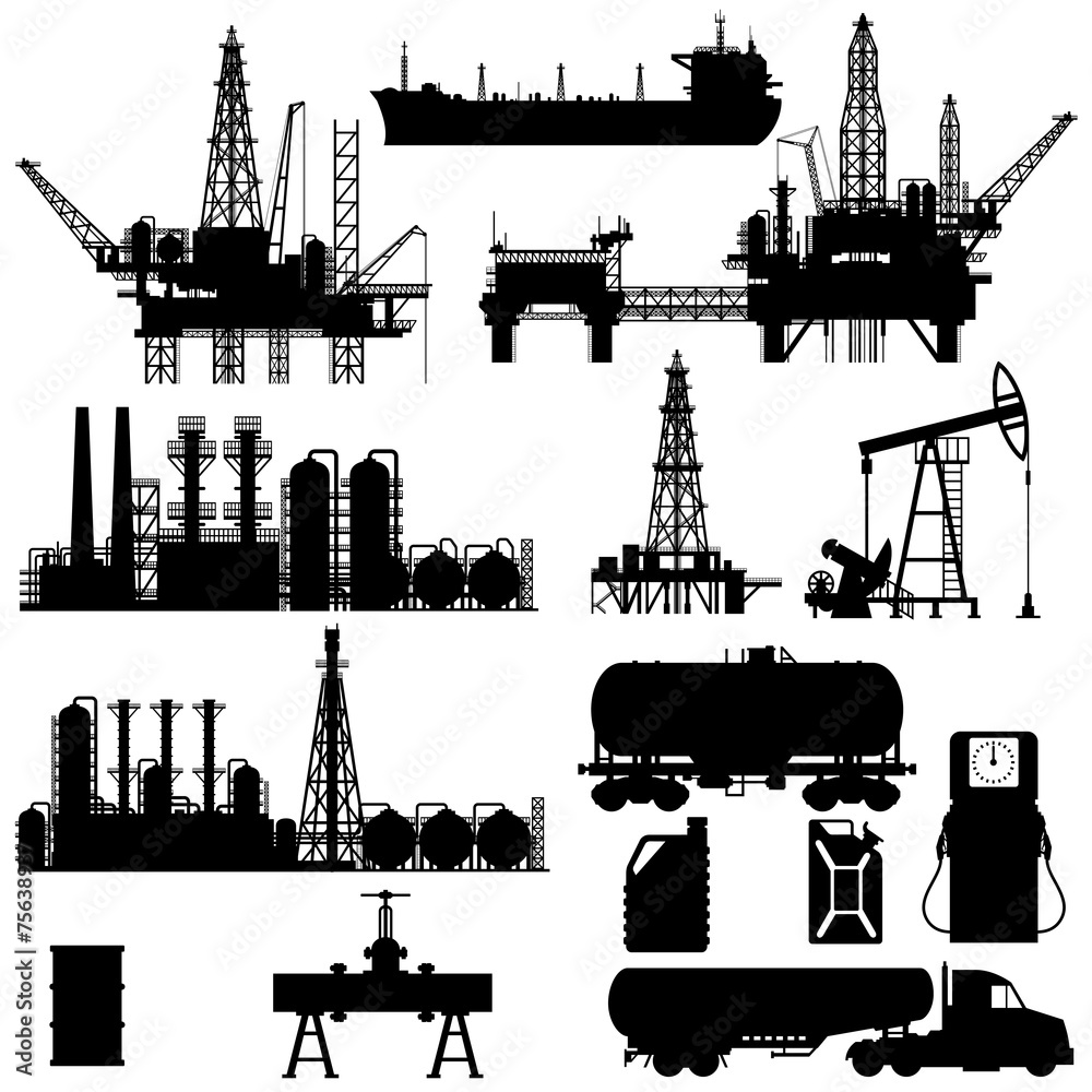Fototapety, obrazy: Silhouettes of Oil Industry