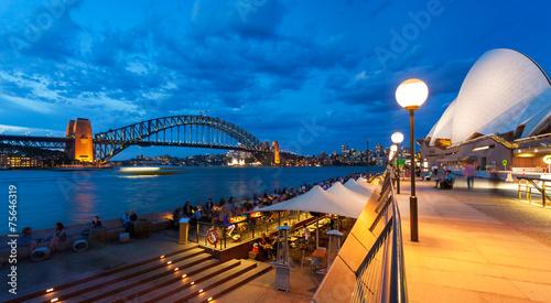 View of Sydney Harbour Bridge at dusk