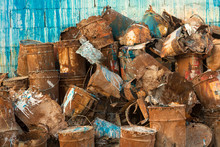 Old Pile Of Rusty Paint Cans A...
