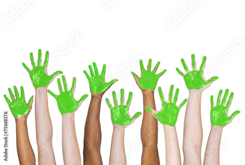 green painted hands togetherness unity concept buy this stock