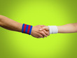 canvas print picture - handshake of  football